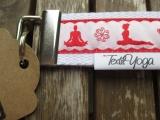 Schlüsselband Yoga Asana (rot/weiß)