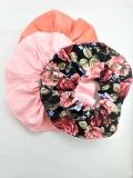 3er Set: Scrunchies ( koralle, rosa, schwarz geblümt )