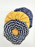 3er Set: Scrunchies ( blau zickzack, blau getupft, Senfgelb geblümt )
